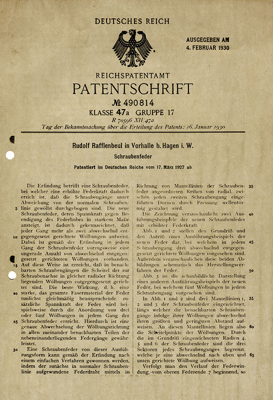 Patents From Rudolf Rafflenbeul Stahlwarenfabrik